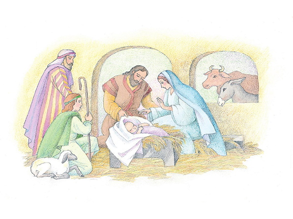 A watercolor illustration of the manger scene with Mary, Joseph, the baby Jesus, two shepherds, a lamb, a donkey, and a cow.