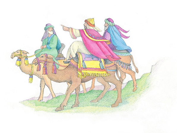 A watercolor illustration of the three Wise Men riding camels and pointing in the direction that they are traveling.
