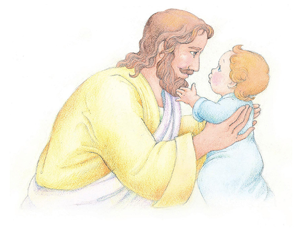 A watercolor illustration of Jesus Christ holding a baby and looking at the baby's face.