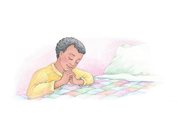 A watercolor illustration of a boy with black hair kneeling by his bed to pray.