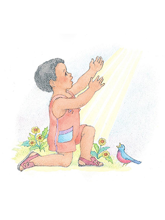 A watercolor illustration of a boy down on one knee, reaching up to sunbeams that are coming down from above.