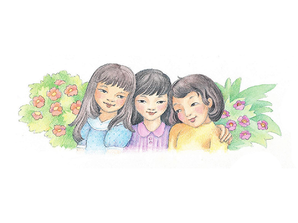 A watercolor illustration of three girls with black hair standing together in a row in front of some flowering bushes.