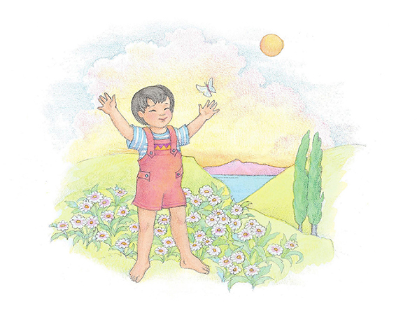 A watercolor illustration of a small boy with black hair standing in a meadow of flowers and reaching toward a butterfly.