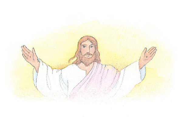 A watercolor illustration of the Savior in a white robe, holding out His hands to show the wounds in His palms.