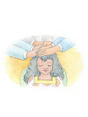 A watercolor illustration of a girl sitting in a chair, with three pairs of hands laid on her head, confirming her a member of the Church.