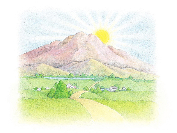 A watercolor illustration of rolling hills of farm landscape in front of a tall mountain half-blocking a rising sun.
