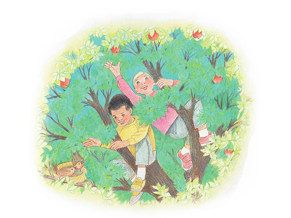 A watercolor illustration of a boy and a girl in the branches of an apple tree, reaching out to pick apples while looking at a nest of birds.
