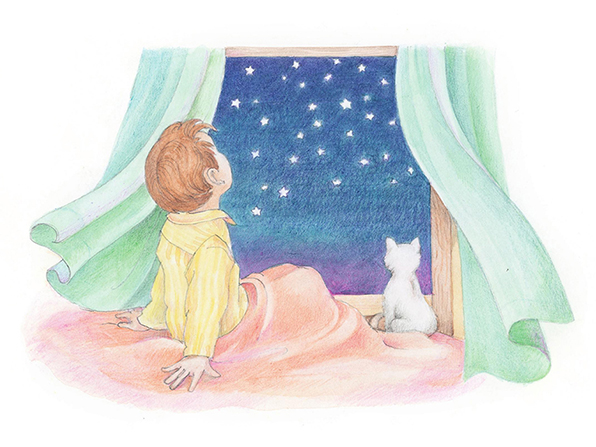 A watercolor illustration of a boy in yellow pajamas and his pet cat looking out a window at the stars in the night sky.