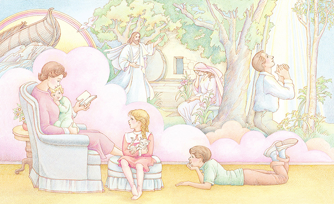 A watercolor illustration of a mother reading to her three children while the children imagine the scripture stories that she is reading to them.