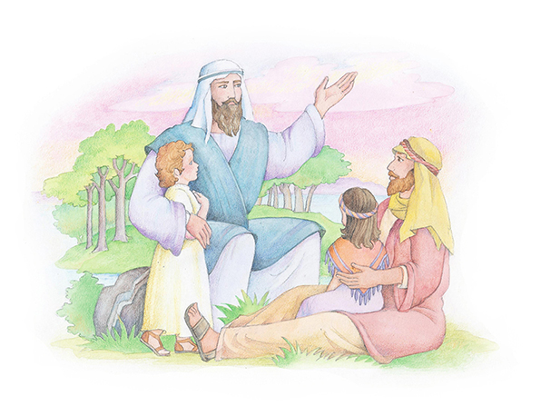 A watercolor illustration of Elijah talking to two children and a man in biblical clothing.