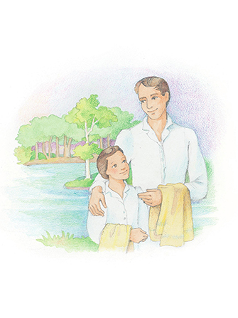A watercolor illustration of a boy and his father on the boy's baptism day, standing by a river in white clothing and holding towels.