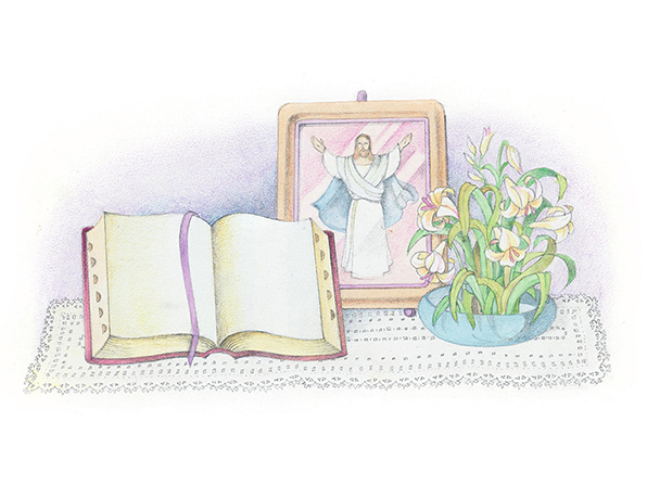 A watercolor illustration of an open Bible next to a bowl of lilies in water and a framed image of the resurrected Savior with outstretched arms.