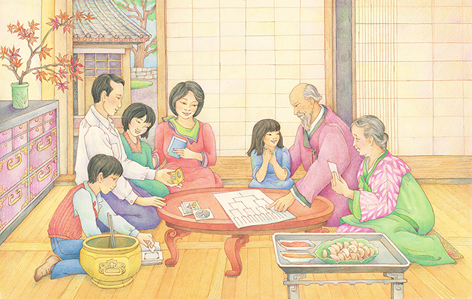 A watercolor illustration of several generations of an Asian family gathered around a table, looking at family history charts and images.