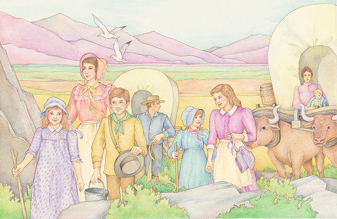 A watercolor illustration of a group of pioneers coming across the plains in two covered wagons being pulled by oxen.