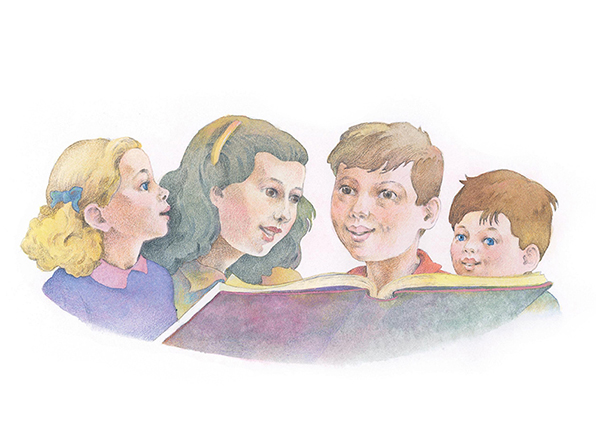 A watercolor illustration of four children looking at a large book together.