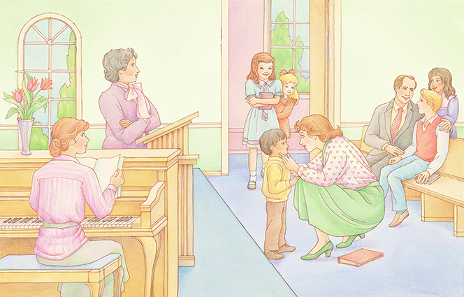 A watercolor illustration of three children entering a Church meeting where there is a piano and a podium. They are being greeted by the adults in the room and led to wooden benches.