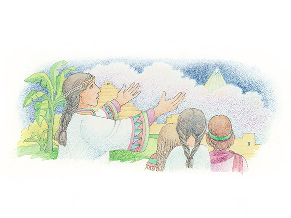 A watercolor illustration of Samuel telling the Book of Mormon people about the birth of Christ.