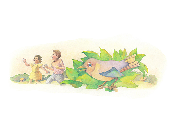 A watercolor illustration of a bird standing on a branch, while in the background a boy and girl are running a race together.