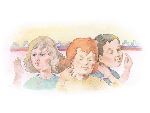 A watercolor illustration of three girls closing one or both of their eyes and holding their hands to their faces.