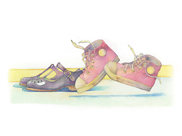 A watercolor illustration of a pair of strapped purple shoes for a girl, next to a pair of red high-top sneakers.