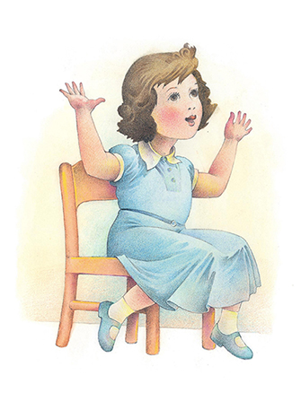A watercolor illustration of a girl with brown hair, a blue dress, and blue shoes, sitting in a chair and raising her hands while singing a song.