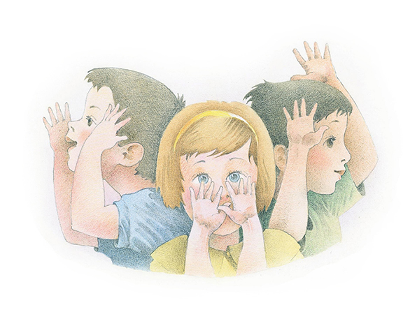 A watercolor illustration of two boys and a girl holding their hands up to their faces while singing a song.