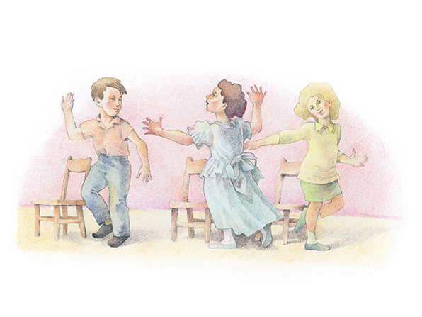 A watercolor illustration of two girls and a boy in church clothing, standing near their chairs while dancing and singing.