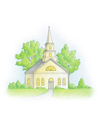 A watercolor illustration of a white meetinghouse with a tall steeple standing in front of two green trees.