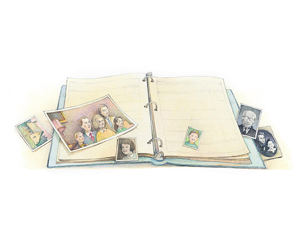 A watercolor illustration of a blue binder full of family history papers and a few historical photographs of a family.
