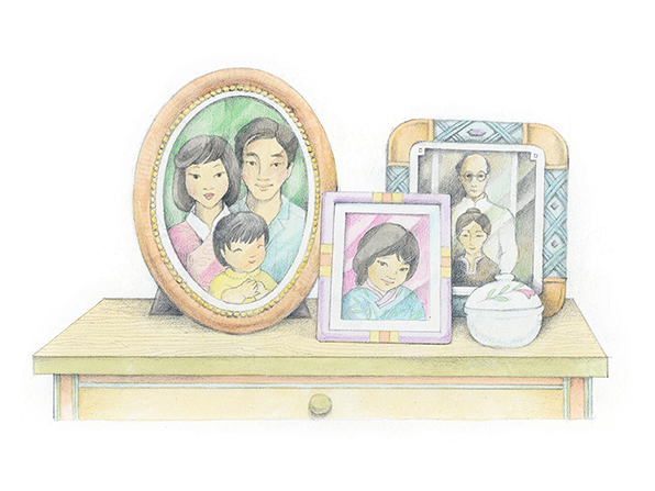 A watercolor illustration of a nightstand with three framed family pictures going back several generations.