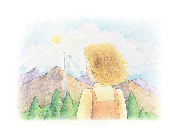 A watercolor illustration of a young girl looking toward a flag raised on a flagpole near a mountain range.