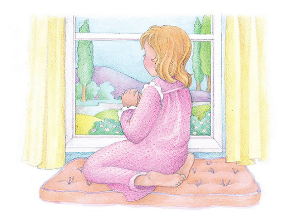 A watercolor illustration of a girl kneeling on a windowsill, looking out of the window at the surrounding landscape.