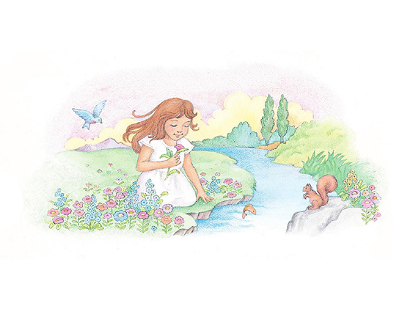 A watercolor illustration of a girl with brown hair kneeling beside a stream while smelling a rose.