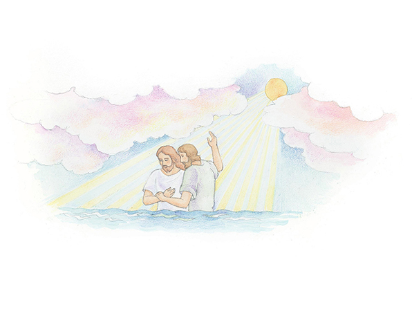 A watercolor illustration of John baptizing Jesus in the River Jordan with the sun shining overhead.