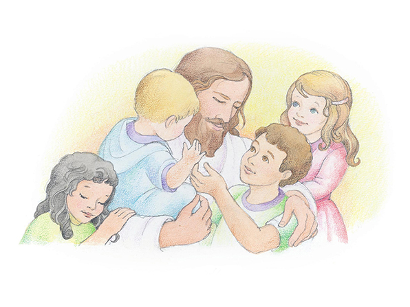 A watercolor illustration of Jesus hugging and talking to four children who surround Him.