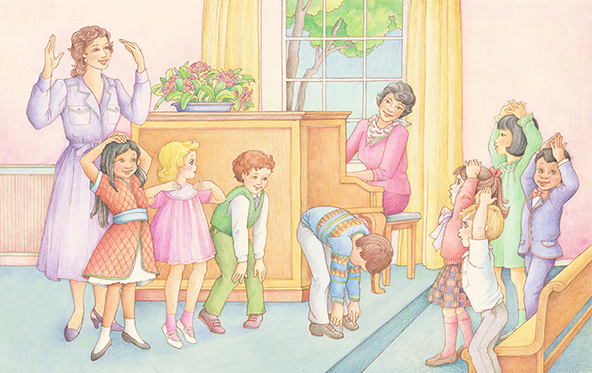 "A watercolor illustration of a group of eight Primary children being led in ""Head, Shoulders, Knees, and Toes"" by their Primary chorister while the pianist plays for them."