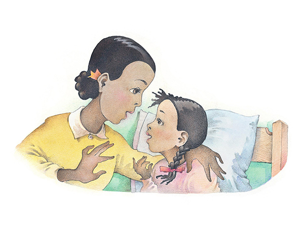 A watercolor illustration of a mother and her young daughter talking together while the daughter sits in bed, ready to go to sleep.