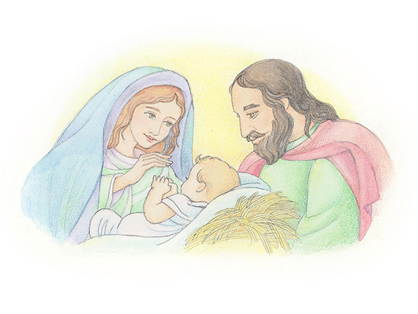 A watercolor illustration of Mary and Joseph standing over the manger and looking down at baby Jesus.