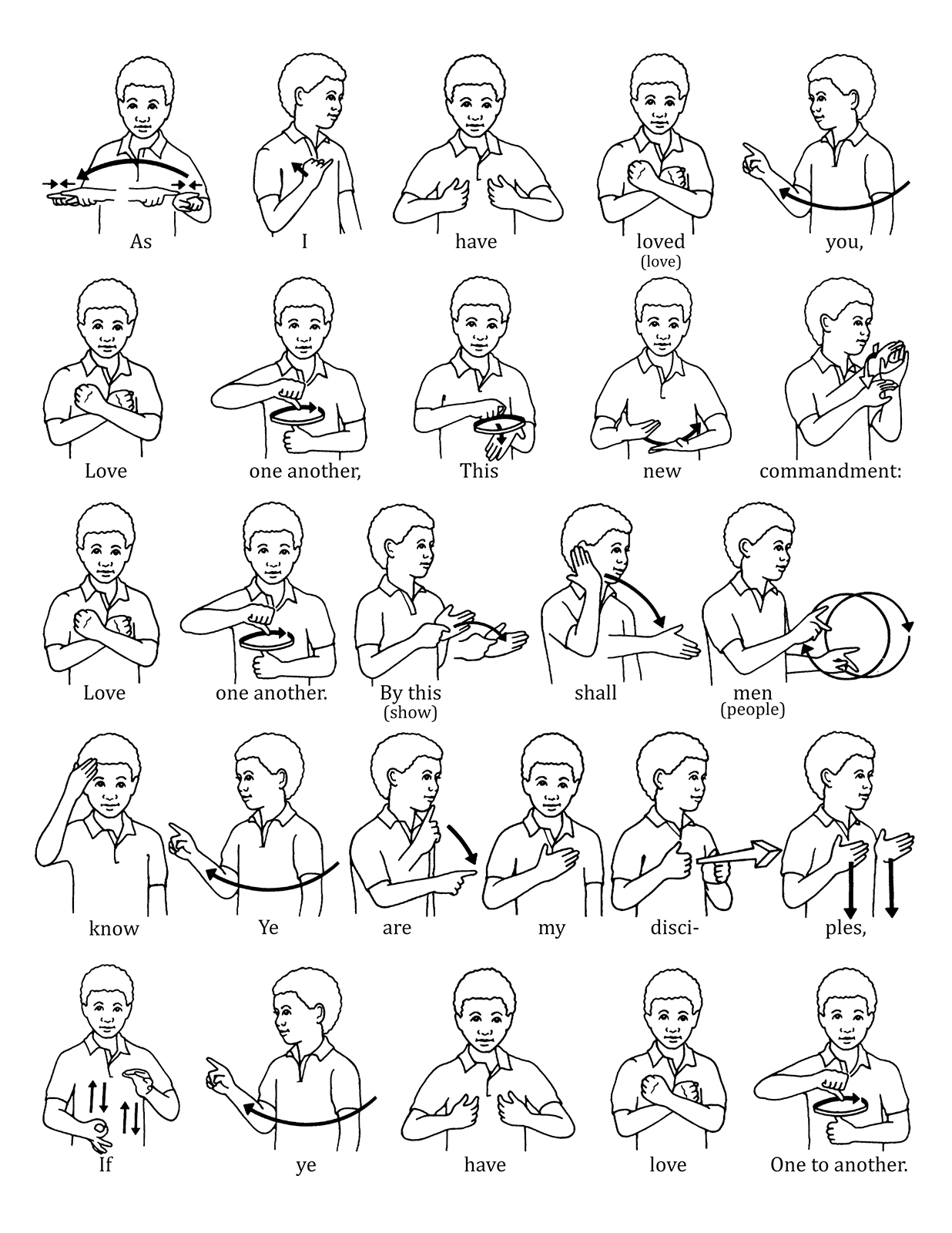 image about Jesus Loves Me Sign Language Printable known as Signal Language for \u201cLove One particular A further\u201d