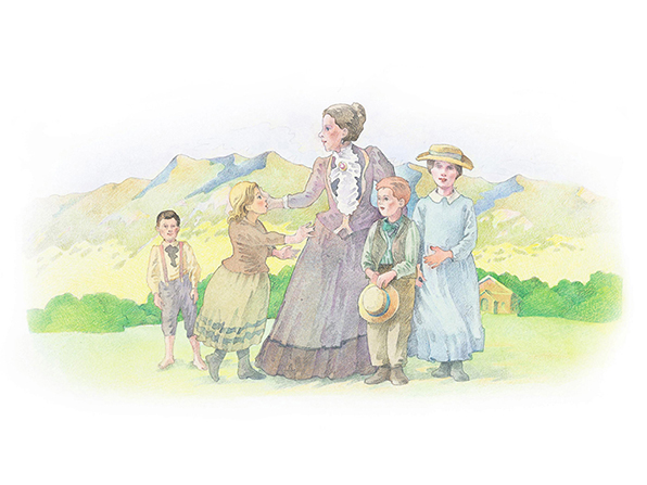 A watercolor illustration of a woman in pioneer clothing standing in front of a mountain range, with four children also in pioneer dress.