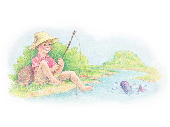 A watercolor illustration of a boy in shorts and a large hat, fishing with a makeshift pole at the edge of a stream in which a purple fish can be seen.