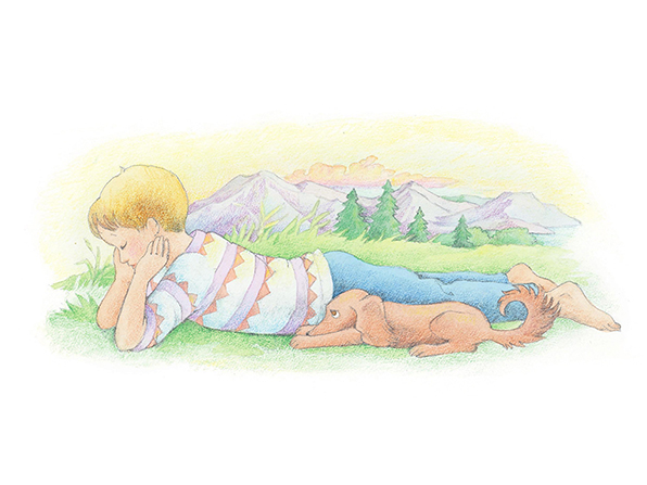 A watercolor illustration of a blond boy and his brown puppy lying next to one another on the ground, looking down in sadness.
