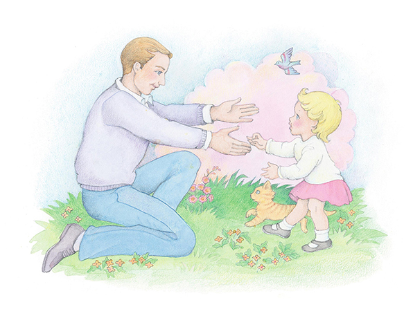 A watercolor illustration of a toddler with blond hair walking across the lawn to her father, who is waiting with outstretched arms.