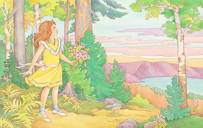 A watercolor illustration of a young girl in a yellow dress, standing at the edge of a forest overlooking a lake.