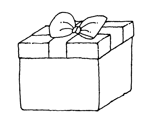 Line drawing of a gift box with a bow.