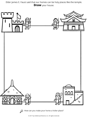 Line drawings of different types of homes, with empty space in the middle to color on.