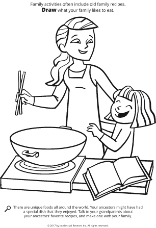 Line drawing of a mother and daughter making food from a recipe book.