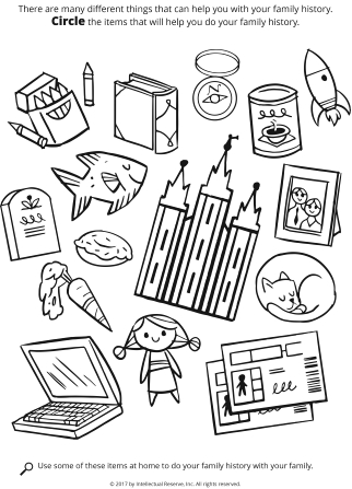 Line drawing of different things such as crayons, a fish, a cat, the Salt Lake Temple, and more.