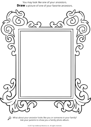 Line drawing of a picture frame with white space in the middle to draw or color on.