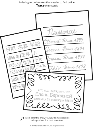 Line drawings of three separate cards with words written on them in different languages.